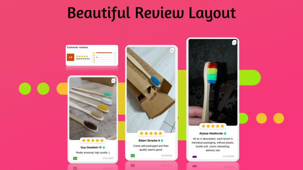 beautiful shopify reviews app layout