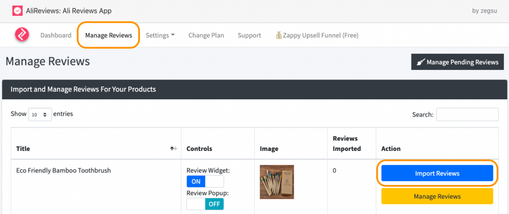 manage shopify reviews