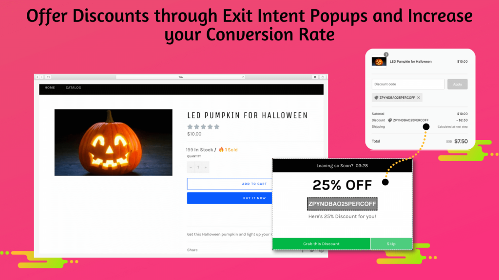 Shopify abandoned cart recovery exit intent